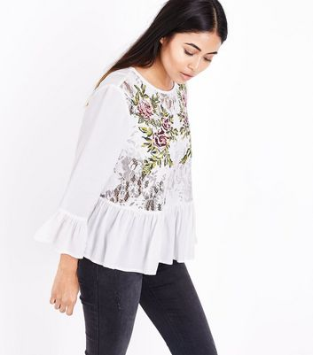 Petite Cream Lace Floral Embroidered Peplum Hem Top New Look