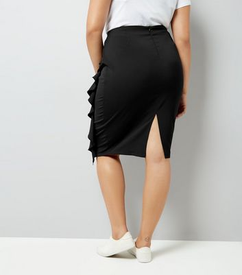 Curves Black Frill Trim Pencil Skirt New Look