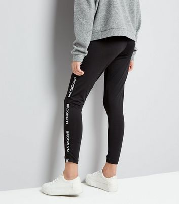Teens Black Brooklyn Tape Leggings New Look