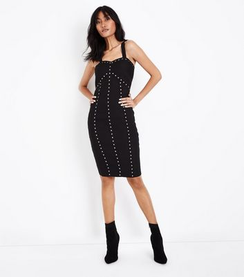 Black Studded Bandage Bodycon Dress New Look