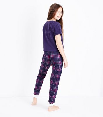 Teens Burgundy Check Slogan Pyjama Set New Look