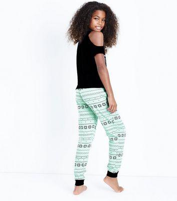 Teens Pale Blue Spliced Slogan Pyjama Set New Look