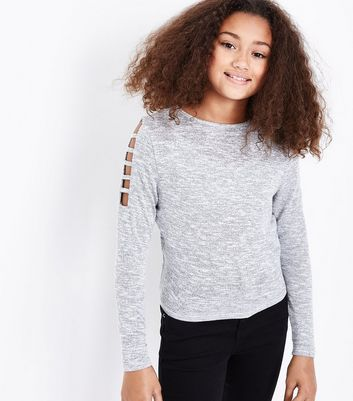 Teens Grey Lattice Sleeve Jumper New Look