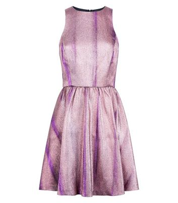 Pink Premium Metallic Jacquard Cut Out Skater Dress New Look