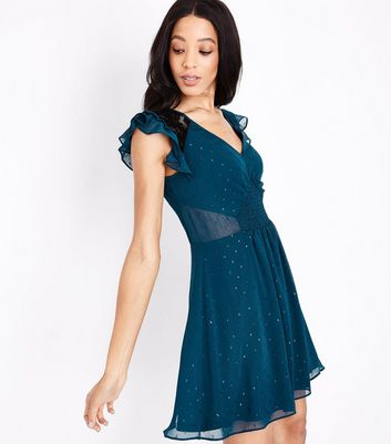 Teal Chiffon Lace Panel Dress New Look
