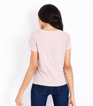 Pink Lace Panel T-Shirt New Look