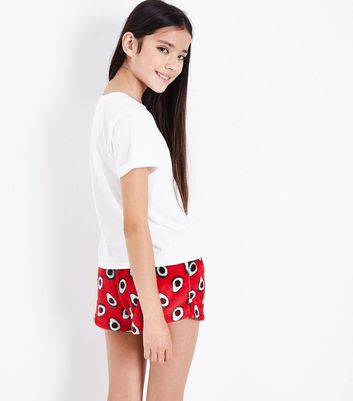 Teens Red Fluffy Avo Merry Christmas Slogan Pyjama Set New Look