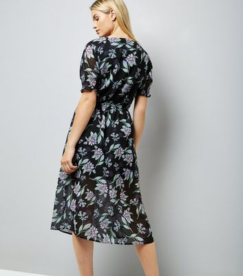 Black Floral Leaf Print Button Front Midi Dress New Look