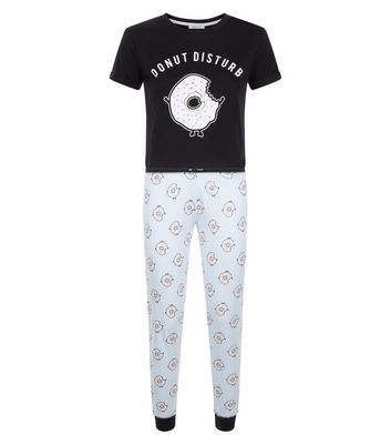 Teens Black Donut Slogan Pyjama Set New Look
