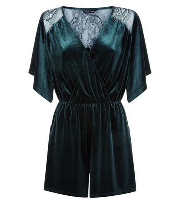 Dark Green Velvet Lace Panel Wrap Front Playsuit New Look