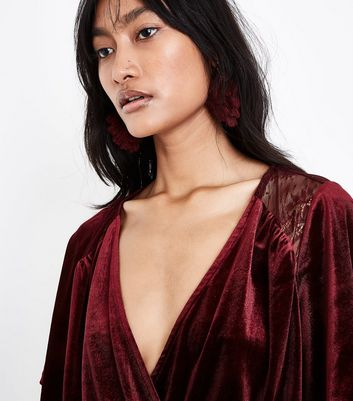 Burgundy Velvet Lace Panel Wrap Front Playsuit New Look