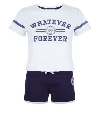 Teens Navy Whatever Forever Slogan Pyjama Set New Look