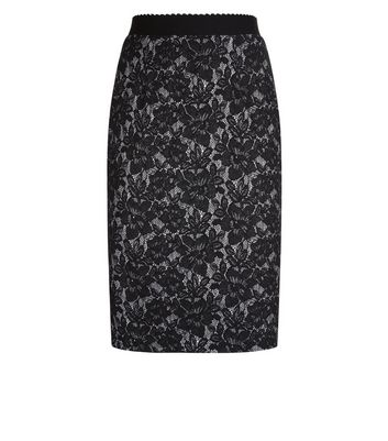 Black Bonded Lace Midi Skirt New Look