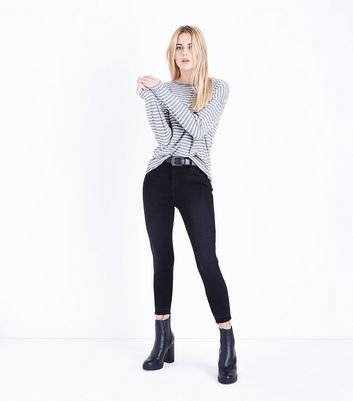 Grey Stripe Long Sleeve T-Shirt New Look