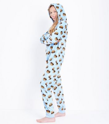 Teens Pale Blue Burger Print Onesie New Look