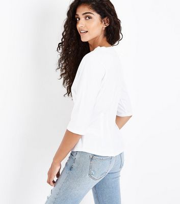 White Pleated Waist T-Shirt New Look