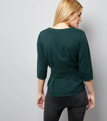 Dark Green Pleated Waist Half Sleeve T-shirt New Look