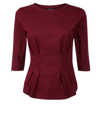 Burgundy Pleated Waist Half Sleeve T-Shirt New Look