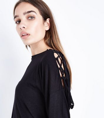Black Lace Up Long Sleeve T-Shirt New Look