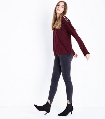 Burgundy Lace Up Long Sleeve T-Shirt New Look