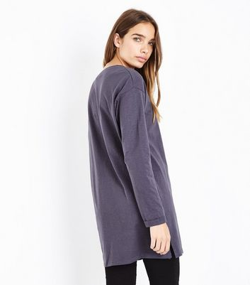 Dark Grey Organic Cotton Tunic Top New Look