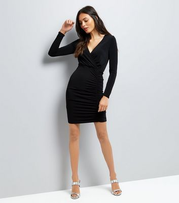 Black Ruched Side Bodycon Dress New Look