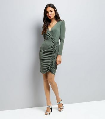 Khaki Ruched Side Bodycon Dress New Look