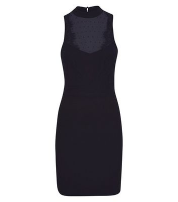 Black Mesh and Lace Bodycon Dress New Look