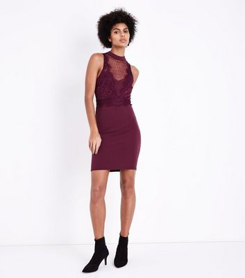 Burgundy Mesh and Lace Trim Bodycon Dress New Look