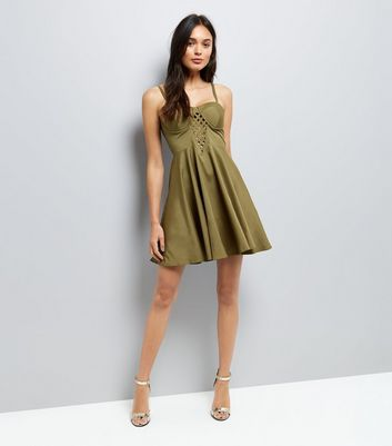 Khaki Lattice Front Skater Dress New Look