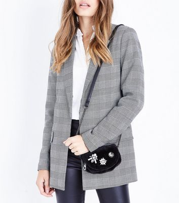 Black Embellished Faux Fur Micro Bag New Look