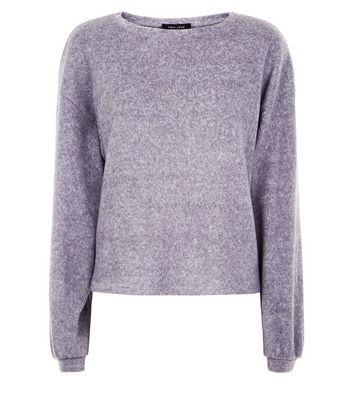 Grey Fine Knit Baloon Sleeve Sweater New Look