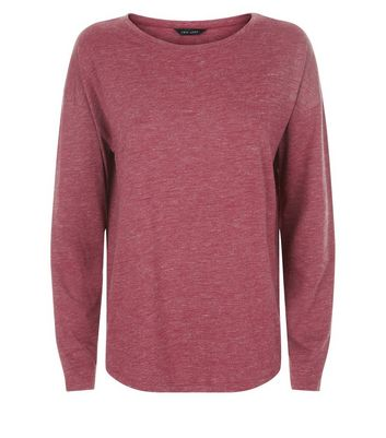 Burgundy Textured Slouchy Long Sleeve T-Shirt New Look
