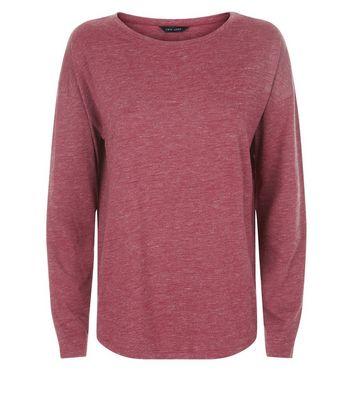 Burgundy Textured Slouchy Long Sleeve T-Shirt New Look