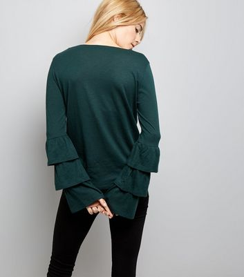 Dark Green Tiered Frill Sleeve Top New Look