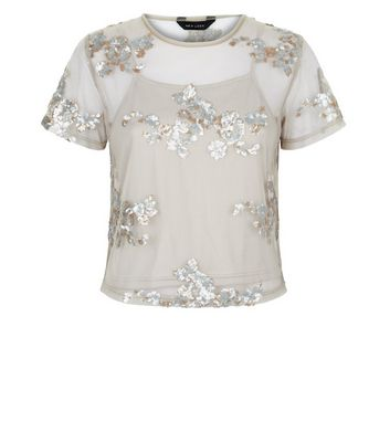 Grey Floral Sequin Embroidered Mesh T-Shirt New Look