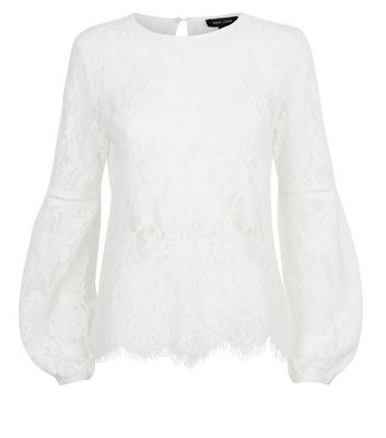 White Lace Balloon Sleeve Top New Look