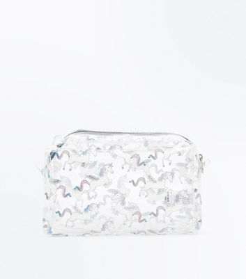 Clear Unicorn Print Wash Bag New Look