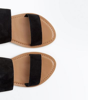 Teens Black Suede Flat Sandals New Look