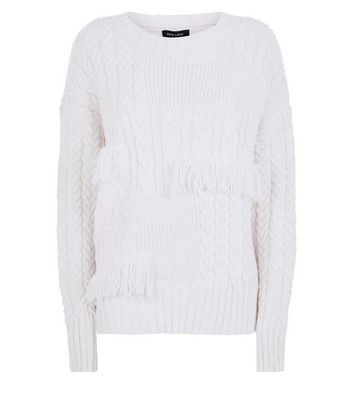 Cream Cable Knit Fringe Trim Jumper New Look