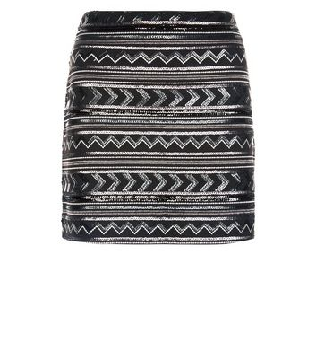 Black Zig Zag Sequin Mini Skirt New Look
