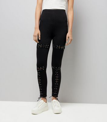 Parisian Black Eyelet Lace Up Skinny Jeans New Look