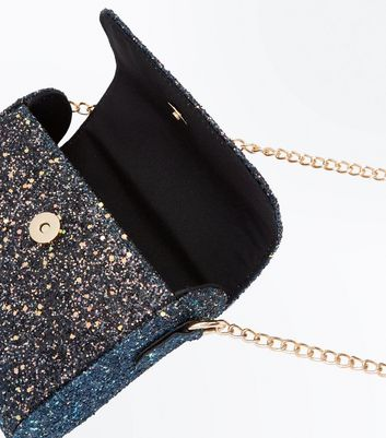 Blue Glitter Curved Bag New Look