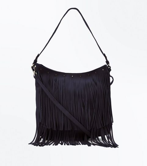 Black Fringe Hobo Bag