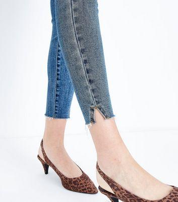 Blue Split Frayed Hem Skinny Jenna Jeans New Look
