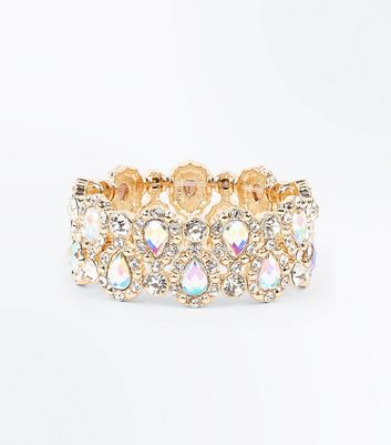 Gold Diamante Stretch Bracelet New Look