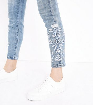 Pale Blue Embroidered High Waist Super Skinny Hallie Jeans New Look