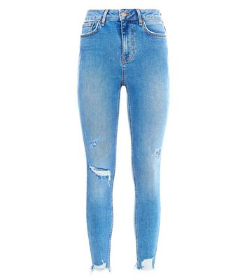 Blue Ripped High Waist Skinny Hallie Jeans New Look