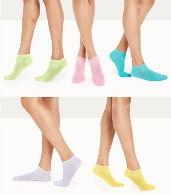 5 Pack Coloured Trainer Socks New Look
