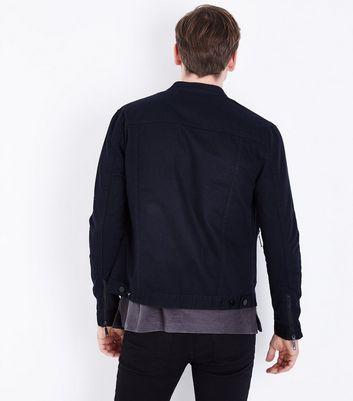 Navy Cotton Biker Jacket New Look